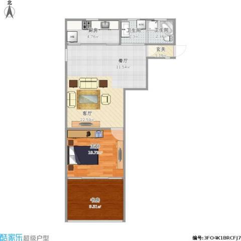 靖宇南路5弄小区2室1厅2卫1厨72.00㎡户型图