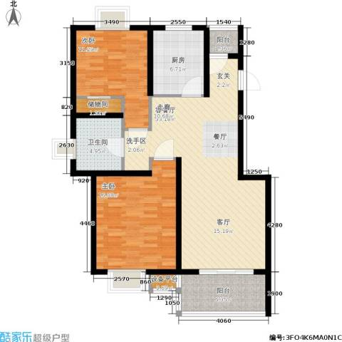 新天地荻泾花园2室1厅1卫1厨85.00㎡户型图