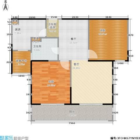 合生财富海景公馆2室0厅2卫1厨95.00㎡户型图