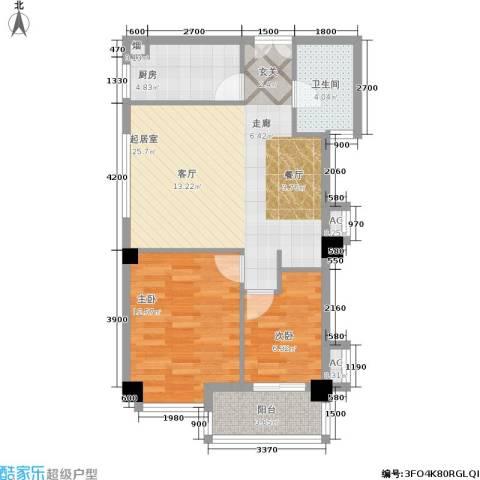山水庭院2室0厅1卫1厨82.00㎡户型图