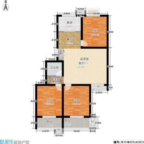 国际幸福城3室0厅1卫1厨112.00㎡户型图