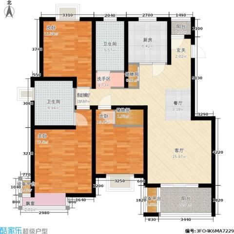 新天地荻泾花园3室1厅2卫1厨120.00㎡户型图