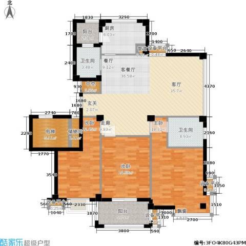 君悦龙庭3室1厅2卫1厨130.00㎡户型图