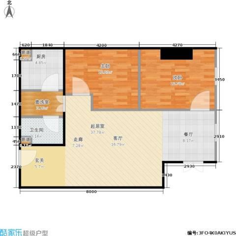 银座晶都国际2室0厅1卫1厨74.37㎡户型图