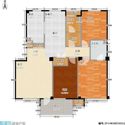 万科・深蓝3室1厅2卫1厨127.00㎡户型图