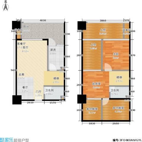 雅典汇1室1厅2卫1厨64.80㎡户型图