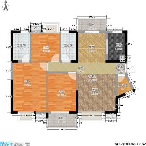 兰亭熙园3室1厅2卫1厨121.00㎡户型图
