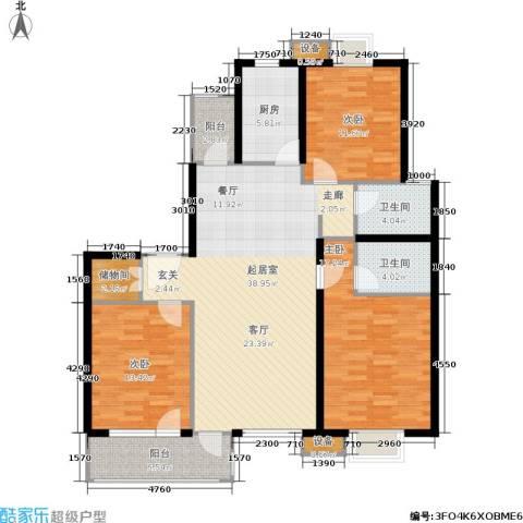 月夏香樟林3室0厅2卫1厨119.00㎡户型图