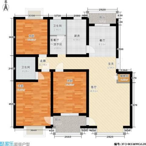 春港丽园3室1厅2卫1厨104.54㎡户型图