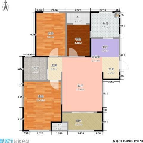 新城公园壹号3室0厅1卫1厨93.00㎡户型图