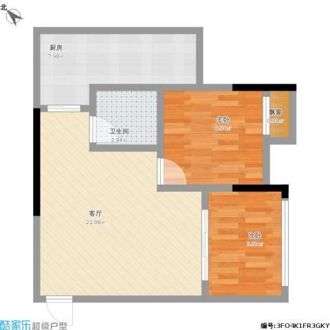 融创伊顿濠庭2室1厅1卫1厨69.00㎡户型图