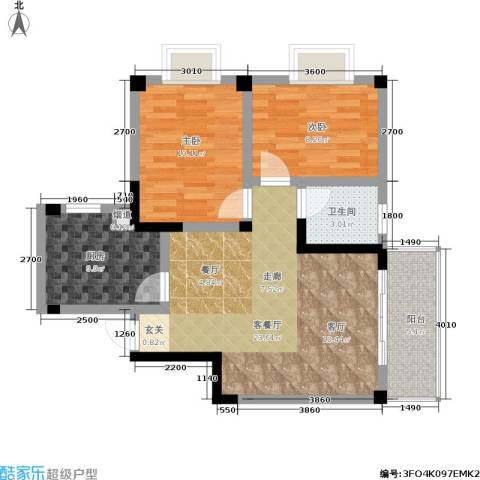 阳城景园2室1厅1卫1厨83.00㎡户型图