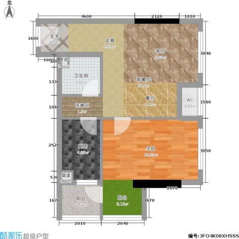 汉商银座1室1厅1卫1厨60.00㎡户型图