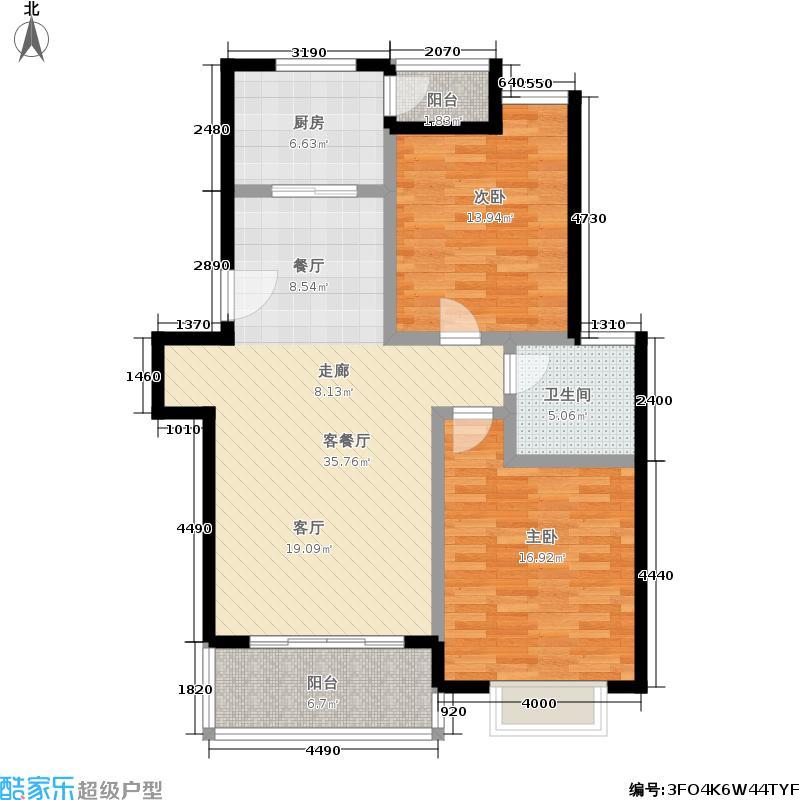 金衡公寓房型: 二房; 面积段: 97.84 -110 平方米; 户型