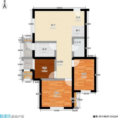 北辰福第3室0厅1卫1厨91.00㎡户型图