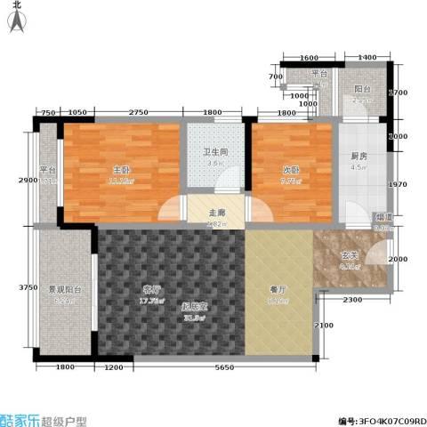 阳光100国际新城2室0厅1卫1厨80.81㎡户型图