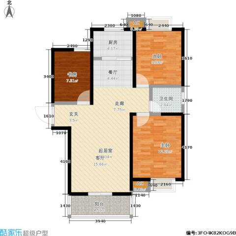 金仕华城3室0厅1卫1厨105.00㎡户型图