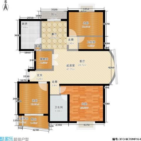 维多利华庭3室0厅2卫1厨124.07㎡户型图