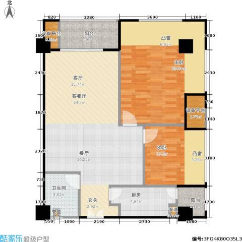 紫薇尚层2室1厅1卫1厨89.00㎡户型图
