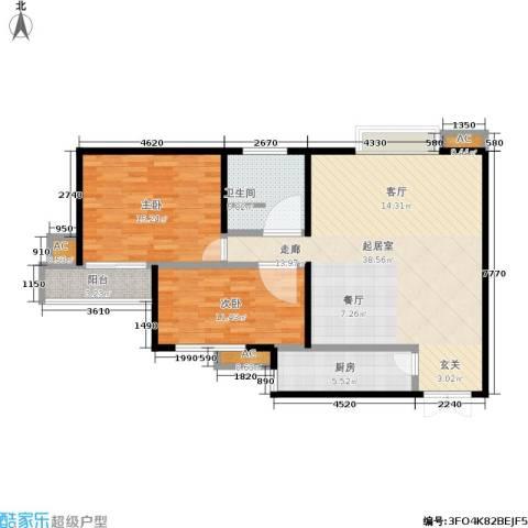 金仕华城2室0厅1卫1厨92.00㎡户型图