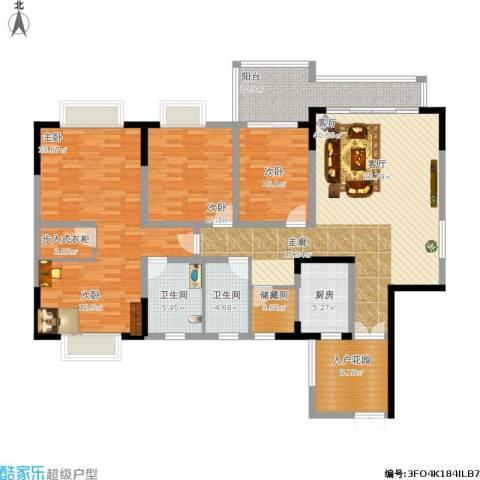 上海城天域3室1厅2卫1厨192.00㎡户型图