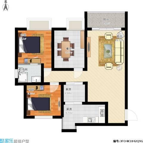 滨河新城2室2厅1卫2厨105.00㎡户型图