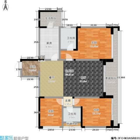 阳光100国际新城3室0厅2卫1厨128.64㎡户型图