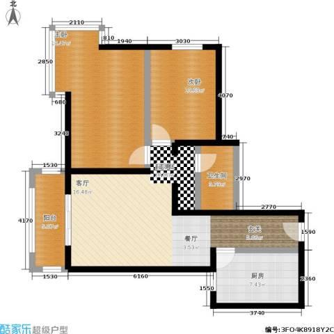 京东丽景苑2室0厅1卫1厨86.00㎡户型图
