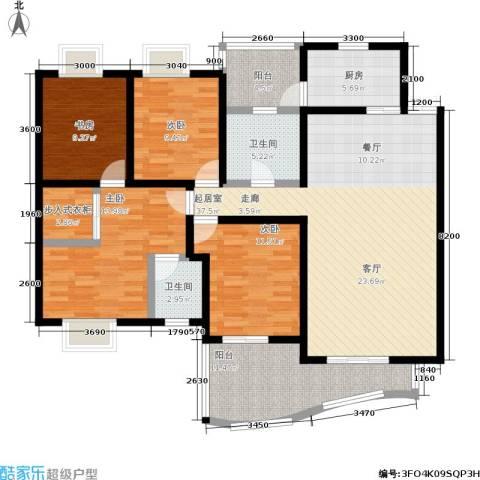 瀚恩阳光4室0厅2卫1厨166.00㎡户型图