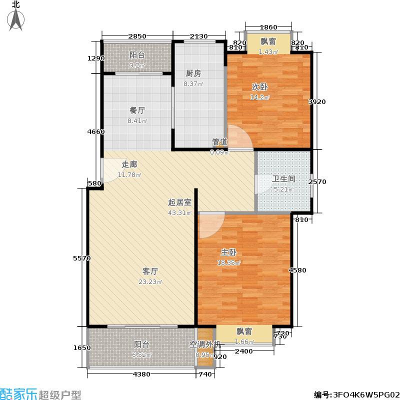 泰鸿新苑房型户型2室1卫1厨