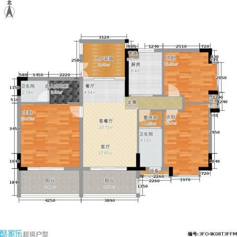 岭南公馆3室1厅2卫1厨148.00㎡户型图