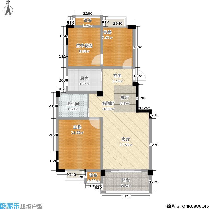 翡翠珑湾87.39㎡小高层F1户型2室2厅1卫87.39平米户型2室2厅1卫