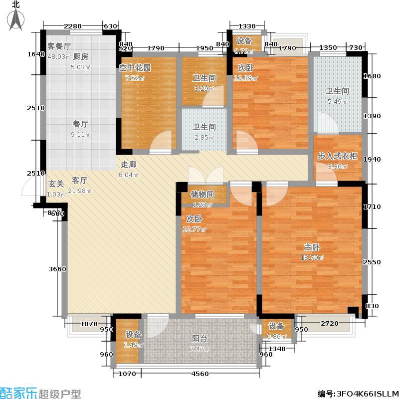翡翠珑湾137.74㎡H3户型 三室两厅两卫+空中花园户型3室2厅2卫