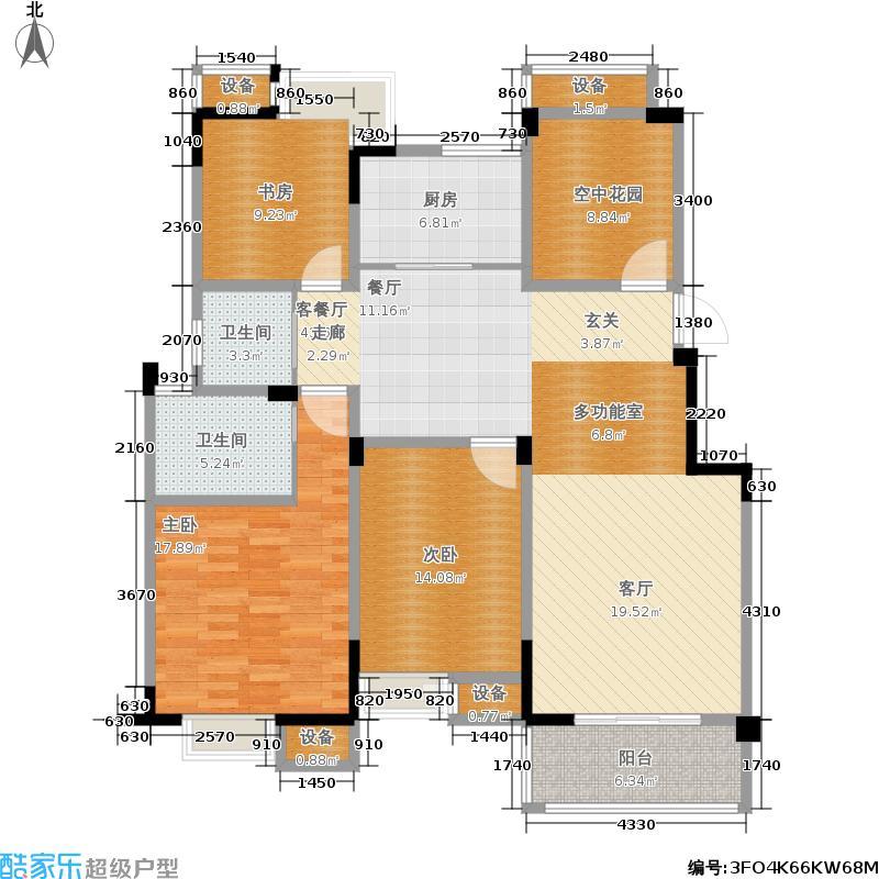 翡翠珑湾134.57㎡小高层F2户型3室2厅2卫134.57平米户型3室2厅2卫