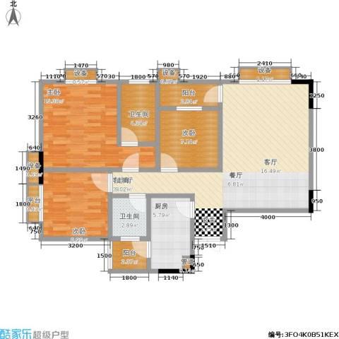 梨树新居3室1厅2卫1厨83.94㎡户型图