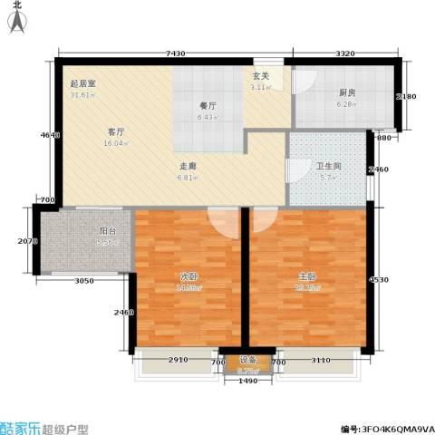 天山怡景苑2室0厅1卫1厨111.00㎡户型图