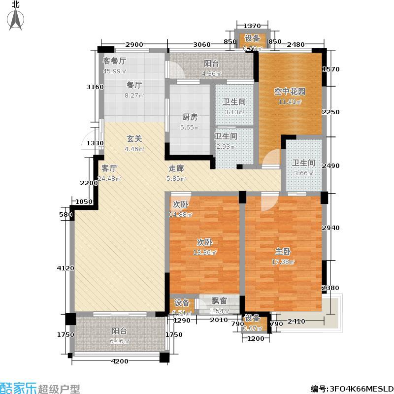 翡翠珑湾130.71㎡小高层D3户型3室2厅2卫130.71平米户型3室2厅2卫
