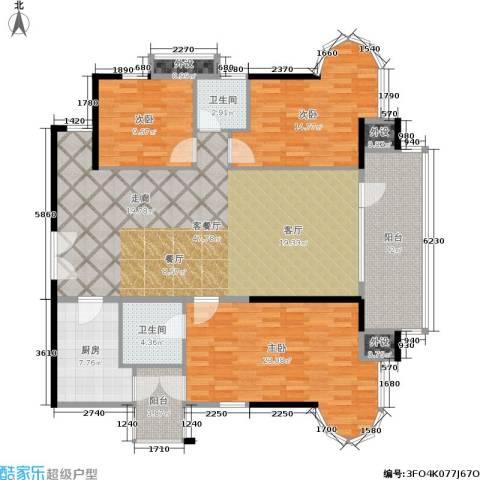 云景名都3室1厅2卫1厨142.00㎡户型图
