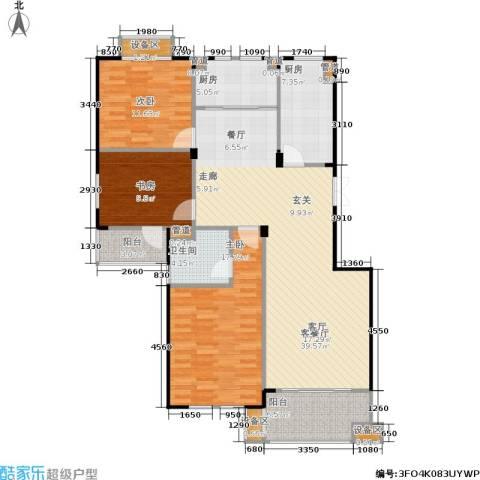 紫园3室1厅1卫2厨122.00㎡户型图