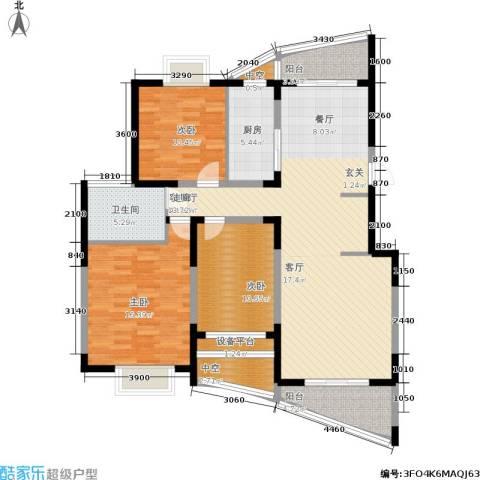 三湘盛世花园3室1厅1卫1厨122.00㎡户型图