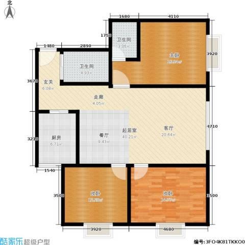 百花明珠3室0厅2卫1厨110.00㎡户型图