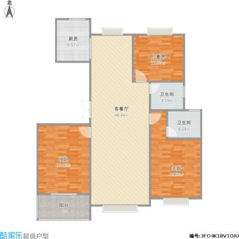 宏润阳光城3室1厅2卫1厨147.00㎡户型图
