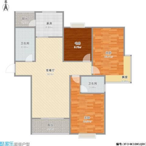 宏润阳光城3室1厅2卫1厨142.00㎡户型图