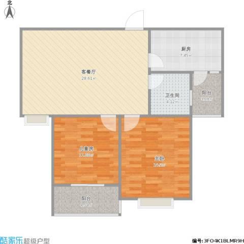 宏润阳光城2室1厅1卫1厨96.00㎡户型图