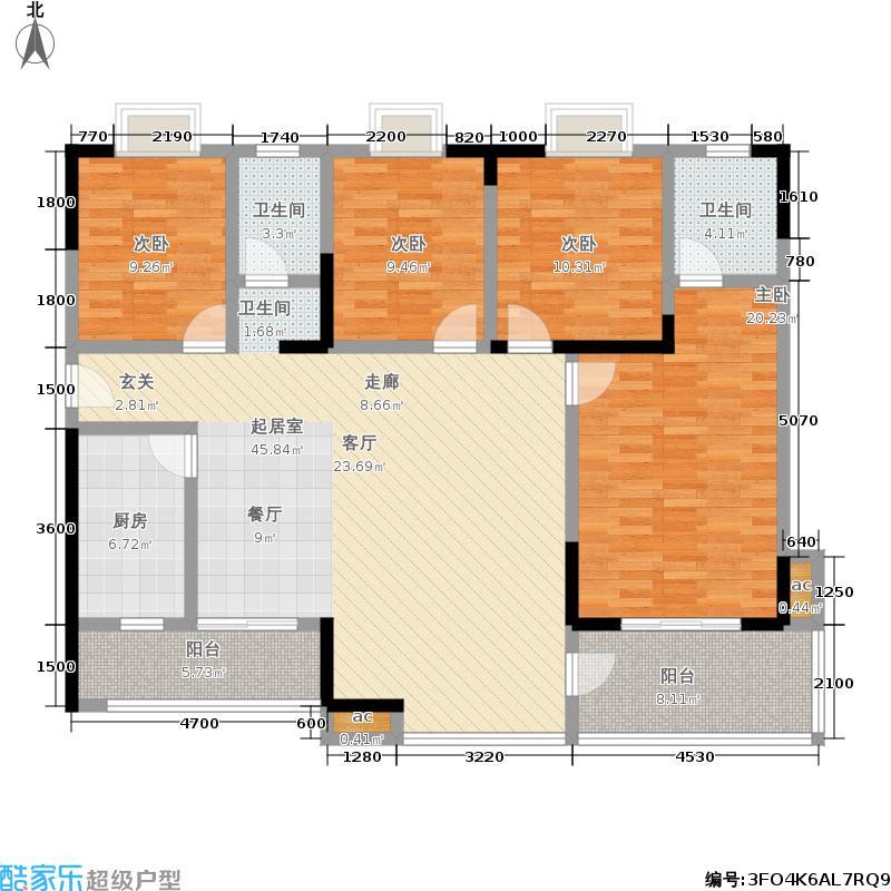 华银天际156.78㎡K户型四室两厅两卫户型4室2厅2卫