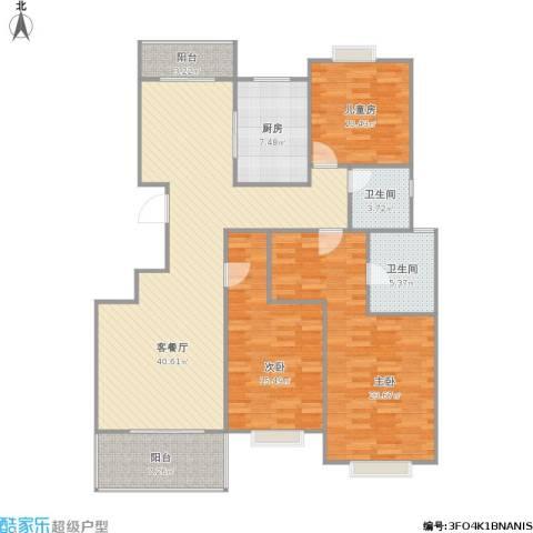 宏润阳光城3室1厅2卫1厨158.00㎡户型图