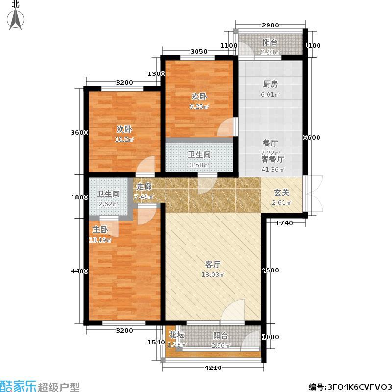 南郡凤凰湾80.74㎡3室2厅1卫户型3室2厅1卫