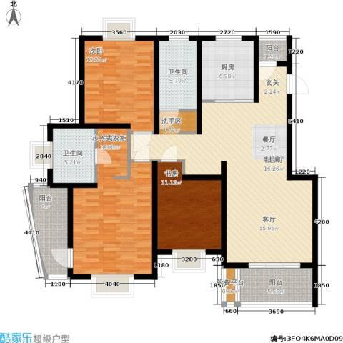 新天地荻泾花园3室1厅2卫1厨116.89㎡户型图