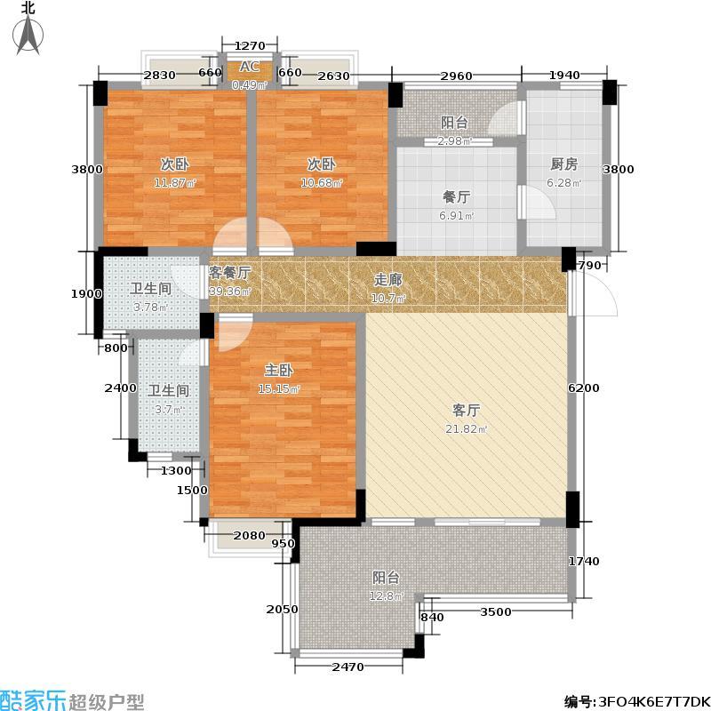 楠郡128.78㎡楠郡户型图一期A1户型3室2厅2卫1厨(2/2张)户型10室