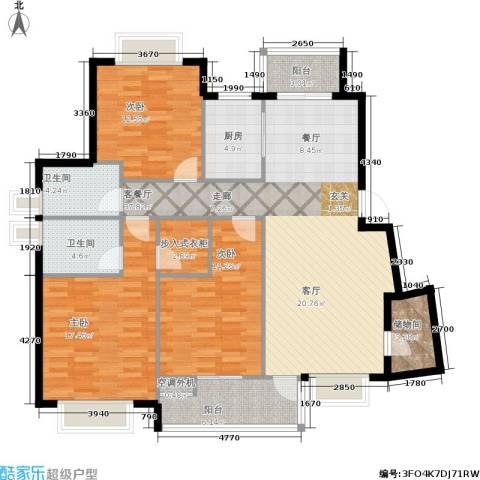 五洲云景花苑3室1厅2卫1厨111.63㎡户型图